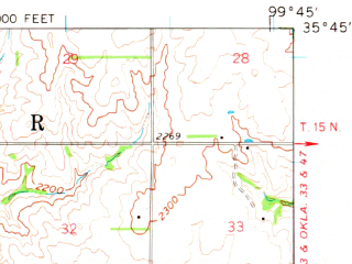 Reduced fragment of topographic map en--usgs--063k--061572--(1961)--N035-45_W100-00--N035-30_W099-45; towns and cities Reydon