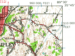 Reduced fragment of topographic map en--usgs--063k--061582--(1961)--N035-45_W089-45--N035-30_W089-30; towns and cities Covington, Ripley, Henning