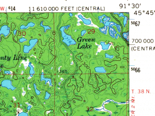 Reduced fragment of topographic map en--usgs--063k--061586--(1965)--N045-45_W091-45--N045-30_W091-30 in area of Red Cedar Lake; towns and cities Birchwood