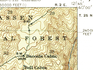 Reduced fragment of topographic map en--usgs--063k--061589--(1944)--N040-00_W122-00--N039-45_W121-45; towns and cities Chico