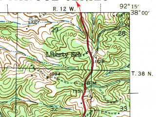 Reduced fragment of topographic map en--usgs--063k--061595--(1943)--N038-00_W092-30--N037-45_W092-15; towns and cities Crocker, Richland