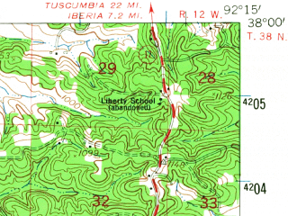 Reduced fragment of topographic map en--usgs--063k--061595--(1954)--N038-00_W092-30--N037-45_W092-15; towns and cities Crocker, Richland