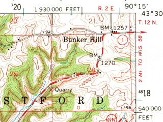 Reduced fragment of topographic map en--usgs--063k--061597--(1960)--N043-30_W090-30--N043-15_W090-15; towns and cities Richland Center