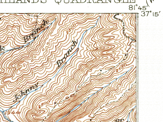 Reduced fragment of topographic map en--usgs--063k--061599--(1916)--N037-15_W082-00--N037-00_W081-45; towns and cities Cedar Bluff, Claypool Hill, Honaker