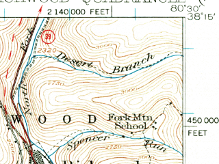 Reduced fragment of topographic map en--usgs--063k--061601--(1935)--N038-15_W080-45--N038-00_W080-30; towns and cities Quinwood, Richwood