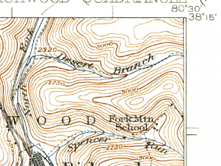 Reduced fragment of topographic map en--usgs--063k--061601--(1939)--N038-15_W080-45--N038-00_W080-30; towns and cities Quinwood, Richwood