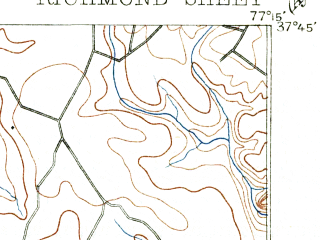Reduced fragment of topographic map en--usgs--063k--061604--(1895)--N037-45_W077-30--N037-30_W077-15; towns and cities Richmond, Mechanicsville, East Highland Park, Highland Springs, Lakeside