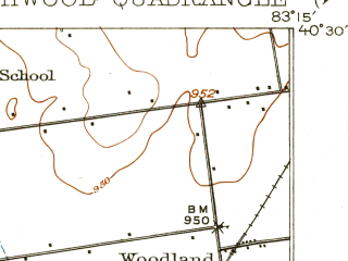 Reduced fragment of topographic map en--usgs--063k--061608--(1915)--N040-30_W083-30--N040-15_W083-15; towns and cities Magnetic Springs, Richwood