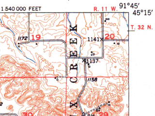 Reduced fragment of topographic map en--usgs--063k--061613--(1951)--N045-15_W092-00--N045-00_W091-45; towns and cities Prairie Farm, Ridgeland, Wheeler