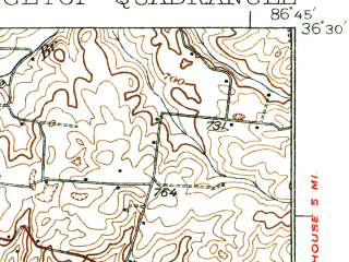 Reduced fragment of topographic map en--usgs--063k--061614--(1935)--N036-30_W087-00--N036-15_W086-45; towns and cities Springfield, Greenbrier, Ridgetop