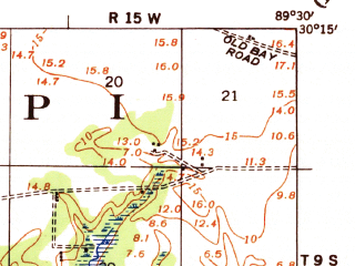 Reduced fragment of topographic map en--usgs--063k--061623--(1936)--N030-15_W089-45--N030-00_W089-30; towns and cities Pearlington