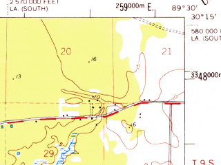 Reduced fragment of topographic map en--usgs--063k--061623--(1969)--N030-15_W089-45--N030-00_W089-30; towns and cities Pearlington
