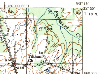 Reduced fragment of topographic map en--usgs--063k--061626--(1947)--N032-30_W093-30--N032-15_W093-15; towns and cities Heflin, Ringgold