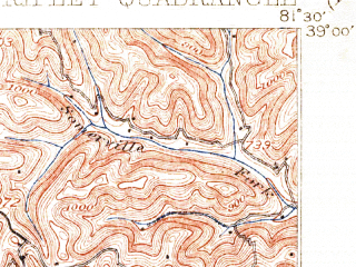 Reduced fragment of topographic map en--usgs--063k--061632--(1907)--N039-00_W081-45--N038-45_W081-30; towns and cities Ripley
