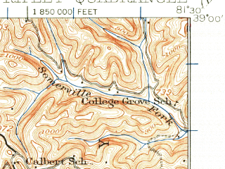 Reduced fragment of topographic map en--usgs--063k--061632--(1926)--N039-00_W081-45--N038-45_W081-30; towns and cities Ripley