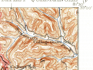 Reduced fragment of topographic map en--usgs--063k--061632--(1928)--N039-00_W081-45--N038-45_W081-30; towns and cities Ripley