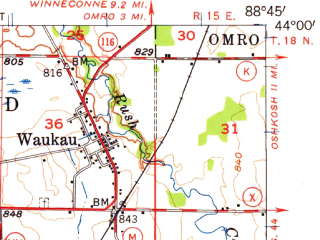 Reduced fragment of topographic map en--usgs--063k--061634--(1956)--N044-00_W089-00--N043-45_W088-45 in area of Rush Lake; towns and cities Berlin, Ripon, Green Lake