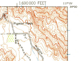 Reduced fragment of topographic map en--usgs--063k--061645--(1942)--N034-00_W117-30--N033-45_W117-15 in area of Lake Mathews; towns and cities Riverside, Rubidoux, March Afb, Pedley, Woodcrest