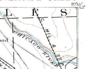 Reduced fragment of topographic map en--usgs--063k--061647--(1891)--N042-00_W088-00--N041-45_W087-45; towns and cities Cicero, Oak Park, Berwyn, Melrose Park, Villa Park