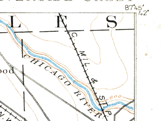Reduced fragment of topographic map en--usgs--063k--061647--(1893)--N042-00_W088-00--N041-45_W087-45; towns and cities Cicero, Oak Park, Westmont, Elmwood Park, Maywood