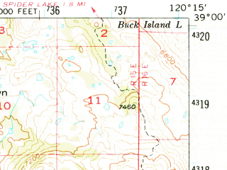 Reduced fragment of topographic map en--usgs--063k--061662--(1952)--N039-00_W120-30--N038-45_W120-15 in area of Union Valley Reservoir, Icehouse Lake