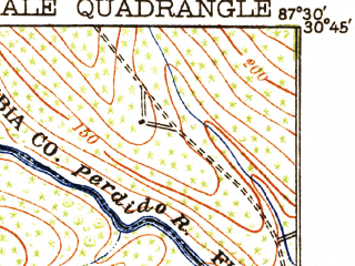 Reduced fragment of topographic map en--usgs--063k--061665--(1920)--N030-45_W087-45--N030-30_W087-30; towns and cities Robertsdale, Silverhill