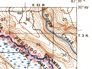 Reduced fragment of topographic map en--usgs--063k--061665--(1943)--N030-45_W087-45--N030-30_W087-30; towns and cities Robertsdale, Silverhill
