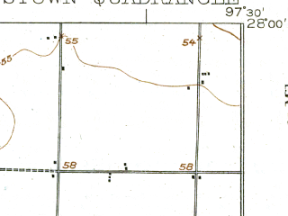Reduced fragment of topographic map en--usgs--063k--061667--(1925)--N028-00_W097-45--N027-45_W097-30; towns and cities Robstown, North San Pedro, Odem