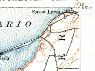 Reduced fragment of topographic map en--usgs--063k--061671--(1898)--N043-15_W077-45--N043-00_W077-30 in area of Irondequoit Bay; towns and cities Rochester, Irondequoit, Brighton, Gates-north Gates, Greece