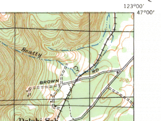 Reduced fragment of topographic map en--usgs--063k--061673--(1941)--N047-00_W123-15--N046-45_W123-00; towns and cities Oakville, Rochester, Chehalis Village