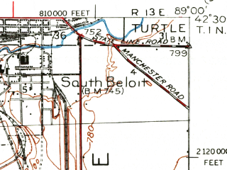Reduced fragment of topographic map en--usgs--063k--061683--(1938)--N042-30_W089-15--N042-15_W089-00; towns and cities Rockford, Loves Park, Machesney Park, Rockton, Roscoe