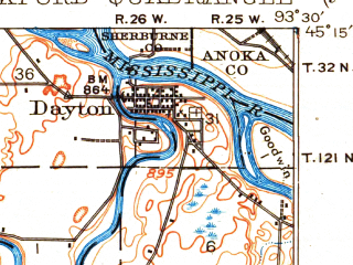 Reduced fragment of topographic map en--usgs--063k--061684--(1909)--N045-15_W093-45--N045-00_W093-30 in area of Lake Independence, Lake Sarah, Robina Lake; towns and cities Corcoran, Maple Plain, Medina, Rockford