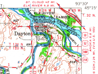Reduced fragment of topographic map en--usgs--063k--061684--(1958)--N045-15_W093-45--N045-00_W093-30 in area of Lake Independence, Lake Sarah, Robina Lake; towns and cities Corcoran, Hanover, Independence, Loretto