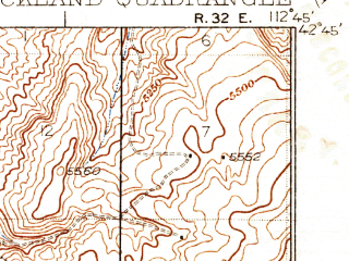 Reduced fragment of topographic map en--usgs--063k--061689--(1937)--N042-45_W113-00--N042-30_W112-45; towns and cities Rockland