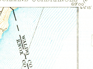 Reduced fragment of topographic map en--usgs--063k--061690--(1906)--N044-15_W069-15--N044-00_W069-00 in area of Rockport Harbor, Weskeag, Sherman Cove; towns and cities Rockland, Camden, Thomaston