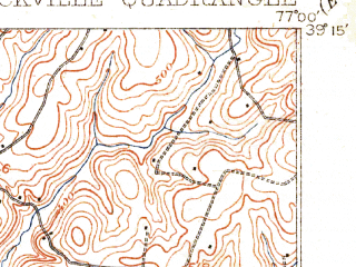 Reduced fragment of topographic map en--usgs--063k--061693--(1908)--N039-15_W077-15--N039-00_W077-00; towns and cities Silver Spring, Wheaton-glenmont, Rockville, Aspen Hill, Montgomery Village