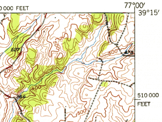 Reduced fragment of topographic map en--usgs--063k--061693--(1944)--N039-15_W077-15--N039-00_W077-00; towns and cities Silver Spring, Wheaton-glenmont, Rockville, Aspen Hill, Montgomery Village