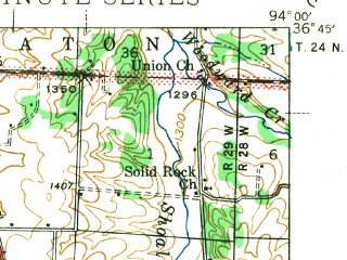 Reduced fragment of topographic map en--usgs--063k--061699--(1943)--N036-45_W094-15--N036-30_W094-00