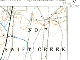 Reduced fragment of topographic map en--usgs--063k--061703--(1902)--N036-00_W078-00--N035-45_W077-45 in area of Rocky Mount Reservoir; towns and cities Rocky Mount, Sharpsburg, Elm City, Nashville