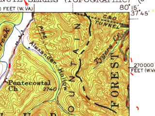 Reduced fragment of topographic map en--usgs--063k--061730--(1952)--N037-45_W080-30--N037-30_W080-15; towns and cities Ronceverte