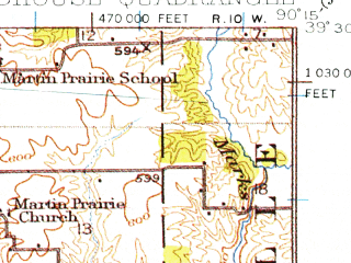 Reduced fragment of topographic map en--usgs--063k--061733--(1924)--N039-30_W090-30--N039-15_W090-15; towns and cities Carrollton, Roodhouse, White Hall
