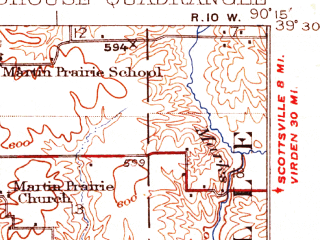 Reduced fragment of topographic map en--usgs--063k--061733--(1926)--N039-30_W090-30--N039-15_W090-15; towns and cities White Hall, Carrollton, Roodhouse