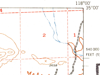 Reduced fragment of topographic map en--usgs--063k--061736--(1943)--N035-00_W118-15--N034-45_W118-00 in area of Rosamond Lake (dry); towns and cities Rosamond