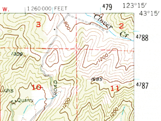 Reduced fragment of topographic map en--usgs--063k--061743--(1955)--N043-15_W123-30--N043-00_W123-15; towns and cities Roseburg, Green, Myrtle Creek, Winston