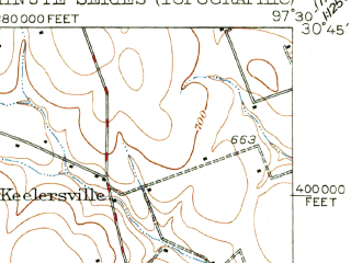 Reduced fragment of topographic map en--usgs--063k--061767--(1951)--N030-45_W097-45--N030-30_W097-30; towns and cities Round Rock, Georgetown, Brushy Creek, Serenada, Weir
