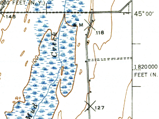 Reduced fragment of topographic map en--usgs--063k--061769--(1939)--N045-00_W073-30--N044-45_W073-15; towns and cities Alburg, Champlain, Rouses Point