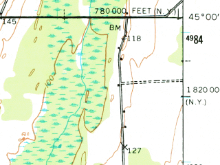 Reduced fragment of topographic map en--usgs--063k--061769--(1956)--N045-00_W073-30--N044-45_W073-15; towns and cities Alburg, Champlain, Rouses Point