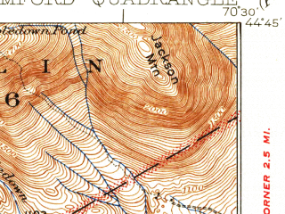 Reduced fragment of topographic map en--usgs--063k--061817--(1930)--N044-45_W070-45--N044-30_W070-30 in area of Ellis Pond; towns and cities Rumford, Mexico