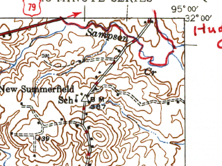 Reduced fragment of topographic map en--usgs--063k--061827--(1945)--N032-00_W095-15--N031-45_W095-00; towns and cities Gallatin, New Summerfield, Rusk