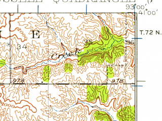 Reduced fragment of topographic map en--usgs--063k--061830--(1935)--N041-00_W093-15--N040-45_W093-00; towns and cities Melrose, Plano, Russell
